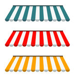 Colorful set of striped awnings Stock Image