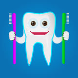 Tooth character holding toothbrush. Eps 10. Vector. Dent cartoon Stock Image