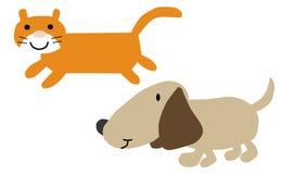 Cat and dog cartoon illustration Royalty Free Stock Photo