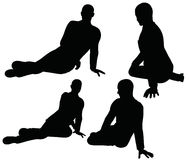 EPS 10 vector illustration of boy silhouette in sitting pose Stock Image