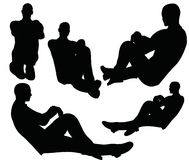 EPS 10 vector illustration of boy silhouette in sitting pose Royalty Free Stock Image