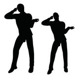 EPS 10 vector illustration of business man silhouette in angry pose Royalty Free Stock Photos