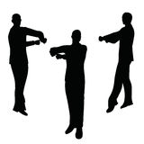 EPS 10 vector illustration of business man silhouette in blaming pose Stock Photos