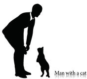 EPS 10 vector illustration of business man silhouette with a cat Stock Photography
