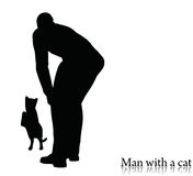 EPS 10 vector illustration of business man silhouette with a cat Royalty Free Stock Photography