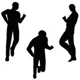 EPS 10 vector illustration of business man silhouette in joyful pose Royalty Free Stock Image