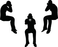 EPS 10 vector illustration of business man silhouette in sorrowful pose Stock Images