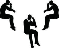 EPS 10 vector illustration of business man silhouette in sorrowful pose Royalty Free Stock Image