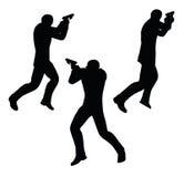 EPS 10 vector illustration of gunman businessman silhouette in black Stock Photo
