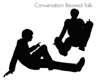 EPS 10 vector illustration of man in Conversation Relaxed Talk  pose on white background Stock Photography