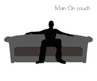 EPS 10 vector illustration of Man On couch pose on white background Stock Photo
