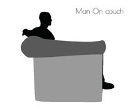 EPS 10 vector illustration of Man On couch pose on white background Royalty Free Stock Photos