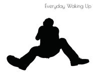 EPS 10 vector illustration of man in Everyday Waking Up pose on white background Stock Image