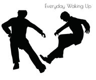 EPS 10 vector illustration of man in Everyday Waking Up pose on white background Royalty Free Stock Images