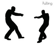 EPS 10 vector illustration of man in  Pulling  Action pose on white background Stock Photos