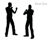 EPS 10 vector illustration of a man in Punch Give pose on white background Stock Photo