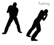 EPS 10 vector illustration of man in  Pushing  Action pose on white background Royalty Free Stock Photo