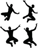 EPS 10 vector illustration of a man silhouette in jump pose Royalty Free Stock Photography