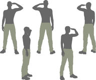 EPS 10 vector illustration of a man silhouette in salute, salutation pose Stock Images