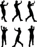 EPS 10 vector illustration of a man silhouette in stop, push pose Stock Photo