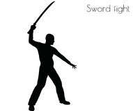 EPS 10 vector illustration of man in swordfight Action pose on white background royalty free illustration