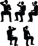 EPS 10 Vector illustration in silhouette of businessman drink Stock Image