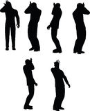 EPS 10 Vector illustration in silhouette of businessman duh head smack Stock Images