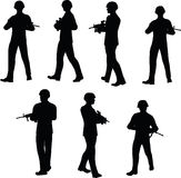 EPS 10 Vector illustration in silhouette of businessman patrol Royalty Free Stock Photo