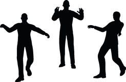 EPS 10 Vector illustration in silhouette of businessman push Stock Photo
