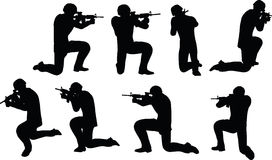 EPS 10 Vector illustration in silhouette of businessman soldier shoot Royalty Free Stock Images
