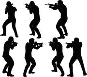 EPS 10 Vector illustration in silhouette of businessman soldier shoot Royalty Free Stock Image