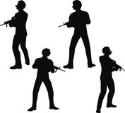 EPS 10 Vector illustration in silhouette of businessman soldier stand Royalty Free Stock Photo