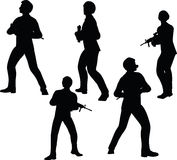EPS 10 Vector illustration in silhouette of businessman soldier stand Stock Photo