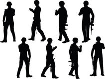 EPS 10 Vector illustration in silhouette of businessman soldier walking Royalty Free Stock Image