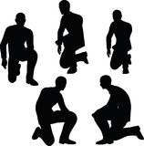 EPS 10 Vector illustration in silhouette of businessman stand to kneel Stock Photo