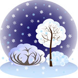EPS10 vector illustration.Winter landscape, trees Royalty Free Stock Photography