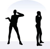 EPS 10 vector illustration of woman in angry pose on white background Stock Images