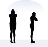 EPS 10 vector illustration of woman in anxious pose on white background Royalty Free Stock Photo