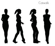 EPS 10 vector illustration of woman in Catwalk pose on white background Stock Images