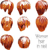 EPS 10 vector illustration of woman hair in red Stock Photos
