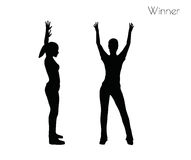 EPS 10 vector illustration of woman in Winner pose on white background Stock Images