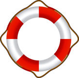 Red Life Buoy, Isolated On White Background Royalty Free Stock Photos