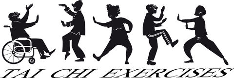 Tai chi clip-art. EPS 8 vector silhouette of a group of mature people, including a paraplegic, practicing tai chi, no white objects Stock Images
