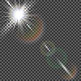 EPS10 Vector transparant de gloed lichteffect van de zonlicht speciaal lens Stock Afbeelding