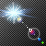 Eps10.Vector transparent sunlight special lens flare light effect. Royalty Free Stock Photo