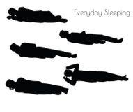 EPS 10 vectorillustratie van de mens in Dagelijkse Slaap stelt op witte achtergrond Royalty-vrije Stock Foto