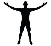 EPS 10 vectorillustratie van voetballersilhouet in zwarte Stock Afbeelding