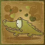 EPS 8 vintage background with vector crocodile Stock Photos