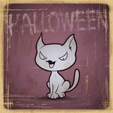 EPS10 vintage grunge old card. Halloween cat Stock Photography