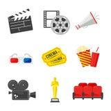 10 eps w pełni ikony planu zdjęciowy przezroczystość Kolorowe ikony na kinowym temacie w mieszkaniu projektują Zdjęcie Stock